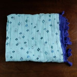 American Eagle Blue Fringed Scarf